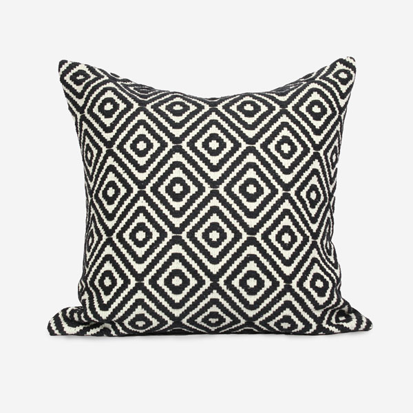 Black Jacquard Custom Size Geometric Throw Pillow Cushion Cover Urbanshag
